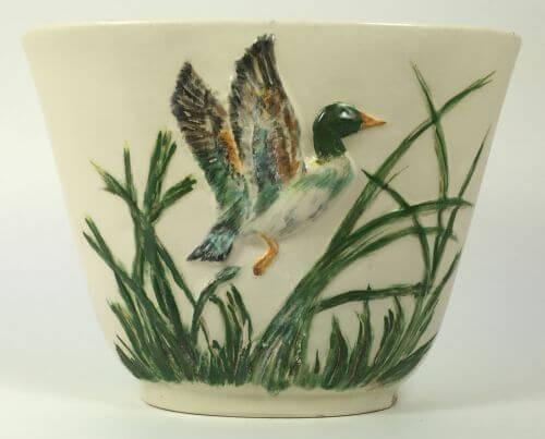 Vintage Mallard Duck Vase with Green Sea Grass