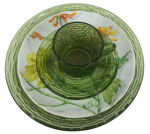 Vintage Mixed Patterns Place Settings Soreno Avocado Green Hocking Chrysanthemum Seymour Mann 4