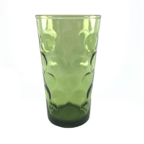 Vintage Hazelware Avocado Dark Green Tumblers Inverted Dot