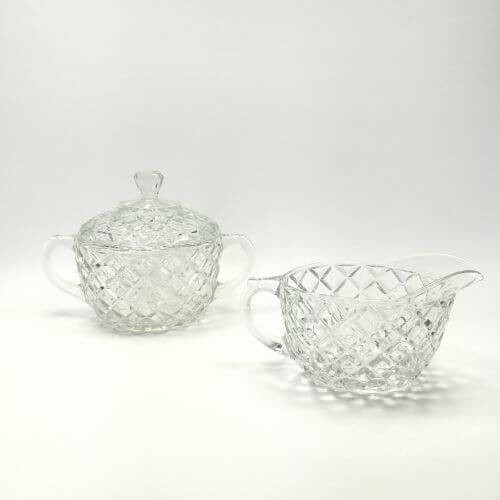 Vintage Creamer and Sugar with Lid Set Depression Glass Waterford Clear Anchor Hocking