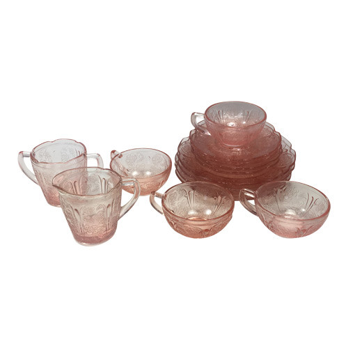 Vintage Pink Depression Glass Childrens Dinner Tea Set Cherry Blossom
