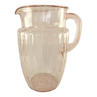 Vintage Pink Depression Glass Pitcher Panled Sides, Pillar Optic Pattern by Anchor Hocking