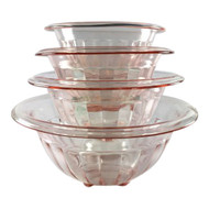 Vintage Pink Glass Mixing Bowls with wide ribbing and rolled edge, Set of 4 by Hazel Atlas