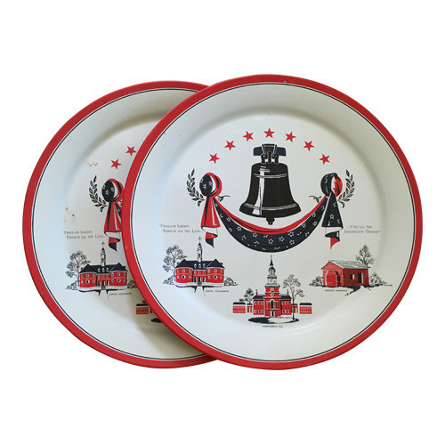 Vintage Patriotic Trays with Liberty Bell, Red, White and Blue