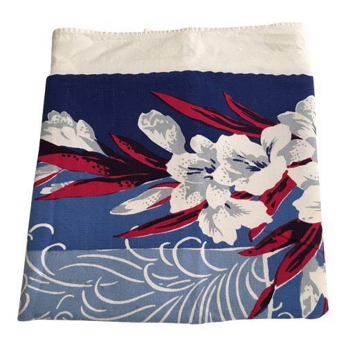 Vintage Tablecloth Gladiolus Flowers Red White Blue