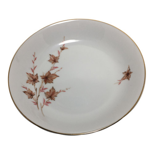 Vintage Coupe Soup Bowls with Fall Leaves and Gold Trim, Alice by Harmony House