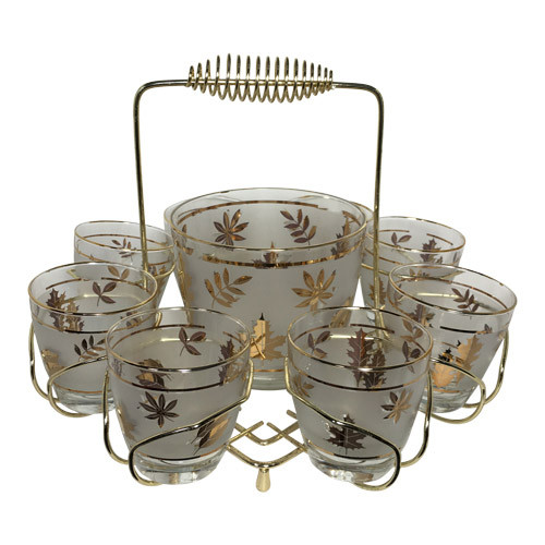 Vintage Old Fashioned Glasses with Ice Bucket in Caddy, Libbey Golden Foliage Leaves