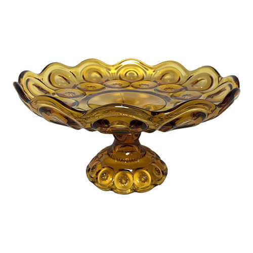 Vintage Amber Glass Cake Stand Compote Moon and Stars
