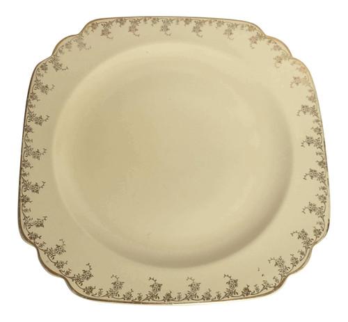 Vintage Homer Laughlin Dinner Plate cream w gold flower rim Century Shape