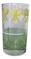 Vintage Libbey J Scott Tennis Tumbler Drinking Glass Green and Yellow