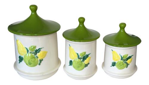 Vintage Holiday Designs Yellow Fruit Kitchen Canister Jar Set