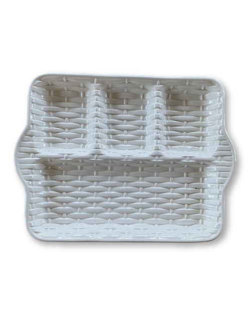 Vintage Creamware Basketweave Lunch Tray