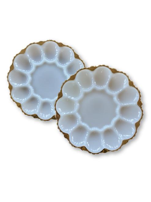 Vintage Milkglass gold deviled egg plates Anchor Hocking set of 2