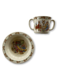 Vintage Bunnykins Christening Cup and Bowl Royal Doulton