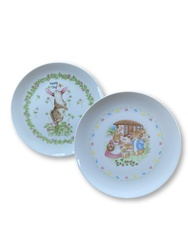Vintage Easter dessert childrens plates bunnies rabbit