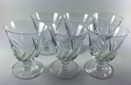 "Baccarat Marked Beauchene Short Stem Glass Crystal Goblet 4 3/8"" tall Set of 6, vintage"