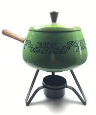 Vintage Green and Black Fondue Pot with wood handle cover lid stand candle holder