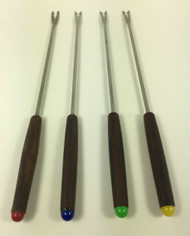 Vintage Fondue Forks rosewood handle with colored tips set of 4