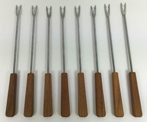 Vintage Fondue Forks teak handles set of 8