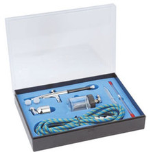 DUAL FEED AIRBRUSH - GRAVITY (7CC) OR SUCTION (22CC) FEED, 0.2/0.3/0.5MM NEEDLES, 1.8M HOSE