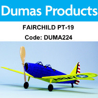 DUMAS 224 FAIRCHILD PT-19 WALNUT SCALE 17.5 RUBBER POWERED