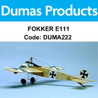 DUMAS 222 FOKKER E111 WALNUT SCALE 17.5 INCH WINGS RUBBER POWERED