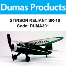 DUMAS 301 STINSON RELIANT SR-10 30 INCH WINGSPAN RUBBER POWERED RUBBER POWERED