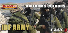 LIFECOLOR MS10 UNIFORMS COLOURS IDF ARMY ACRYLIC PAINT SET