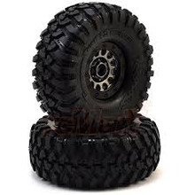 TRAXXAS TIRES & WHEELS, ASS 105 BLACK CHROME BEADLOCK, CANYON TRAIL 1.9' TIRES (1 LEFT, 1 RIGHT)