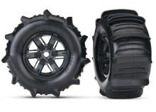 TRAXXAS TIRES & WHEELS, ASSEMBLED (LEFT & RIGHT) (2) X-Maxx Pre-Mounted Paddle Tires & Wheels