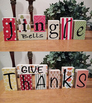 Give Thanks - Jingle Bells: DIY Unfinished Wood, Vinyl & Paper Thanksgiving and Christmas Letters Decoration Kit- Reversible Blocks Letters
