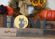 "Cat in Moon - Unfinished ""O"" Letter - HOME & LOVE Series"