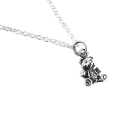 "Sterling Silver Three Dimensional Teddy Bear Charm Necklace, 16"""
