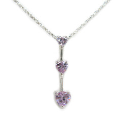 "Three Hearts Birthstone Crystals Pendant 18"" Necklace, June Alexandrite"