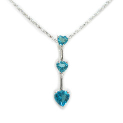 "Three Hearts Birth Crystals Pendant 18"" Necklace, December Blue"