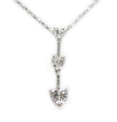 "Three Hearts Birth Crystals Pendant 18"" Necklace, April Clear"