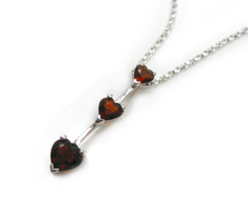 "Three Hearts Birth Crystals Pendant 18"" Necklace, January Red"