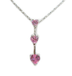 "Three Hearts Birth Crystals Pendant 18"" Necklace, October Pink"