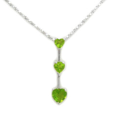 "Three Hearts Birth Crystals Pendant 18"" Necklace, August Green"