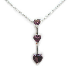 "Three Hearts Birth Crystals Pendant 18"" Necklace, February Purple"