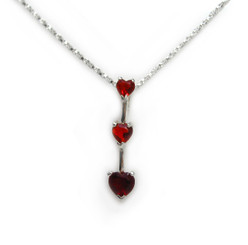 "Three Hearts Birth Crystals Pendant 18"" Necklace, July Red"