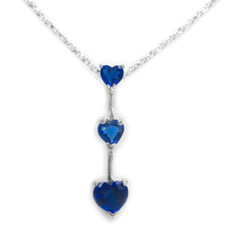 "Three Hearts Birth Crystals Pendant 18"" Necklace, September Blue"