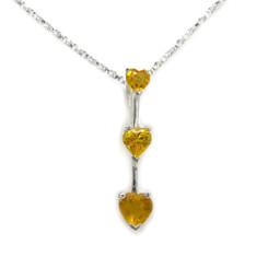 "Three Hearts Crystals Pendant 18"" Necklace, November Yellow"