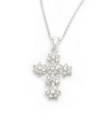Sterling Silver Sparkling Flower Cross Necklace, Clear