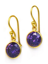 Gold Plated Sterling Silver Sparkling Round Crystal Drop Earrings, Purple