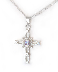 Sterling Silver Ichthus Fish Cross and Birth Crystal Necklace, June Lavender