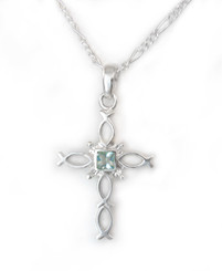 Sterling Silver Ichthus Fish Cross and Crystal Necklace, March Aqua