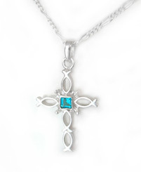 Sterling Silver Ichthus Fish Cross and Crystal Necklace, December Blue