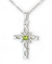 Sterling Silver Ichthus Fish Cross and Birth Crystal Necklace, August Green
