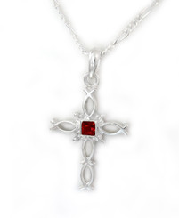 Sterling Silver Ichthus Fish Cross and Birth Crystal Necklace, July Red